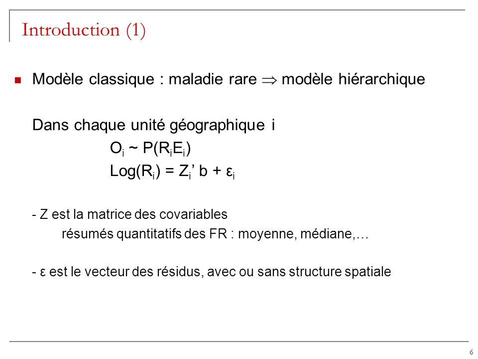 Introduction (1) Modèle classique : maladie rare  modèle hiérarchique