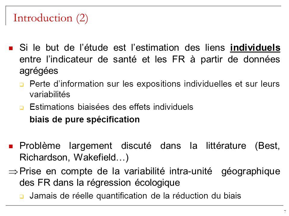 Introduction (2) Si le but de l'étude est l'estimation des liens individuels entre l'indicateur de santé et les FR à partir de données agrégées.