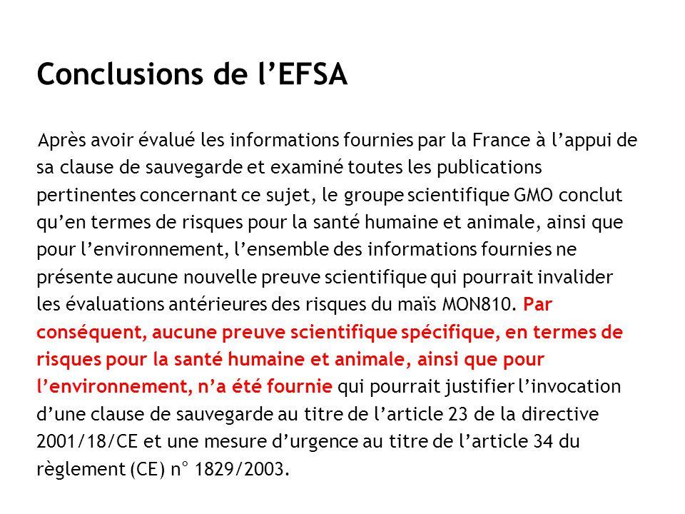 Conclusions de l'EFSA