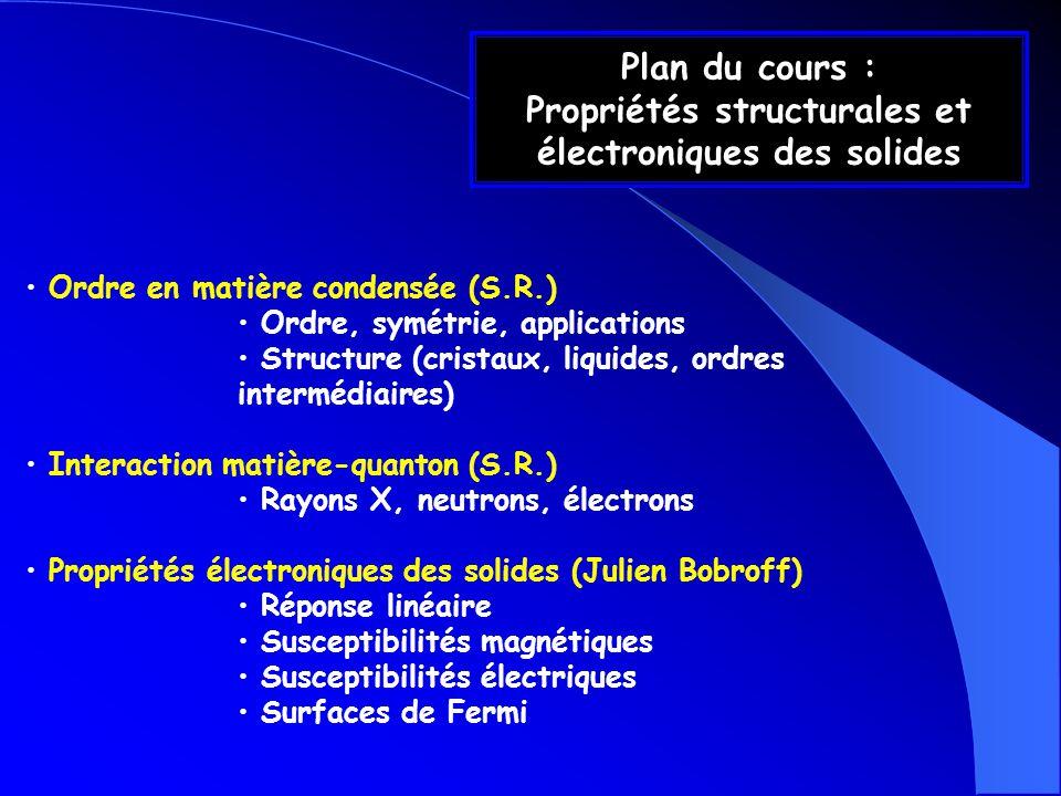 Plan du cours : Propriétés structurales et électroniques des solides