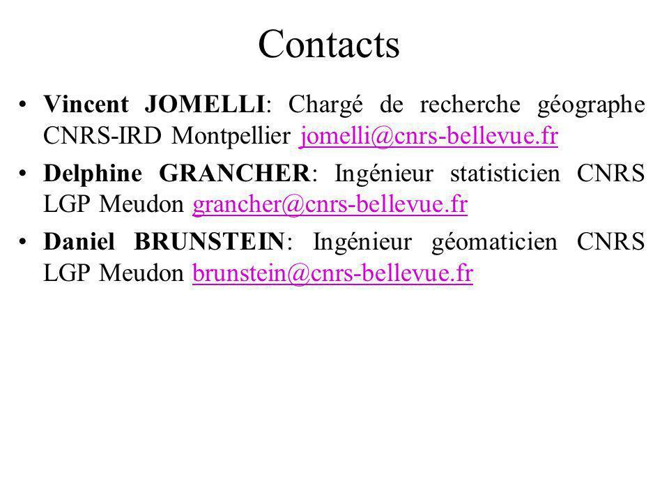 Contacts Vincent JOMELLI: Chargé de recherche géographe CNRS-IRD Montpellier jomelli@cnrs-bellevue.fr.