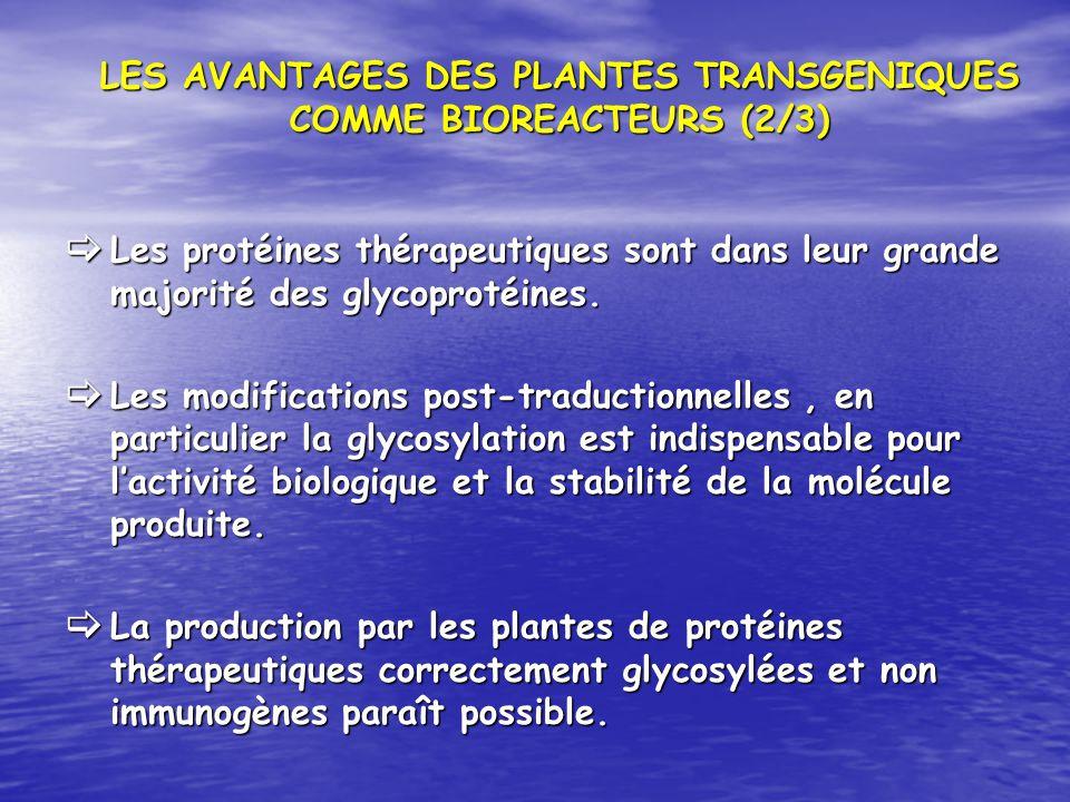 LES AVANTAGES DES PLANTES TRANSGENIQUES COMME BIOREACTEURS (2/3)