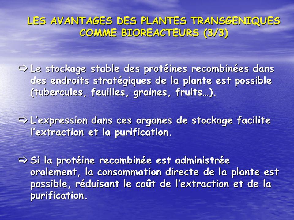 LES AVANTAGES DES PLANTES TRANSGENIQUES COMME BIOREACTEURS (3/3)