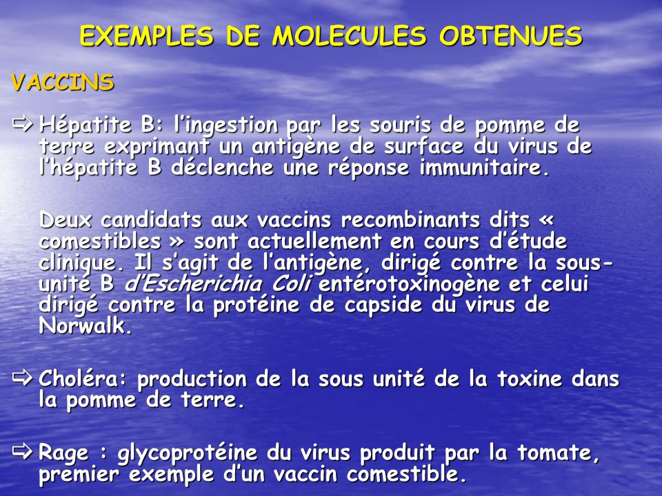 EXEMPLES DE MOLECULES OBTENUES