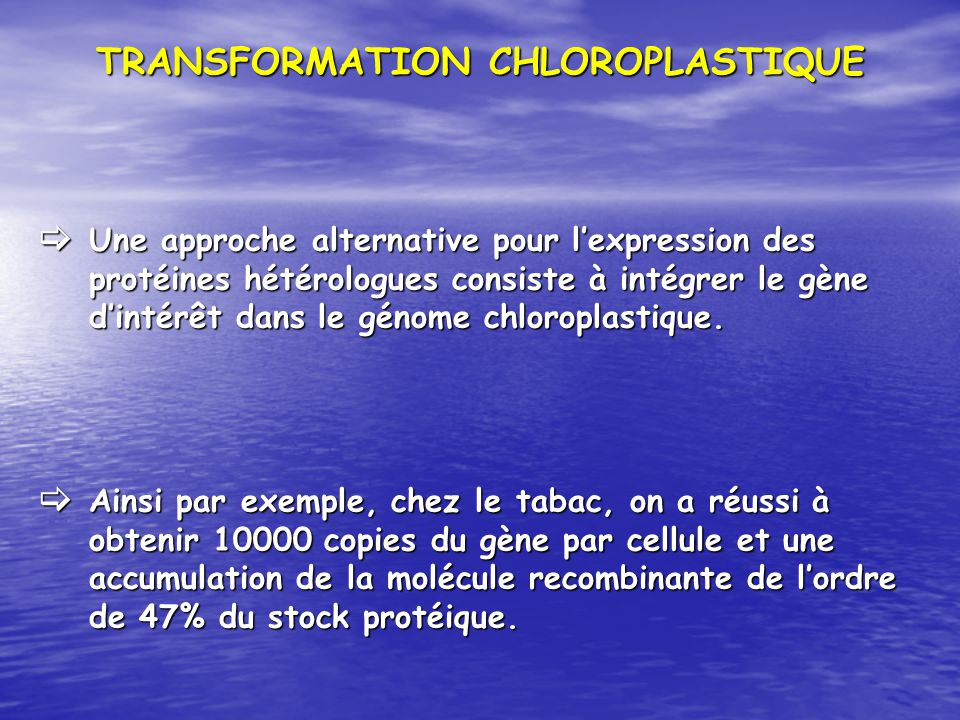 TRANSFORMATION CHLOROPLASTIQUE