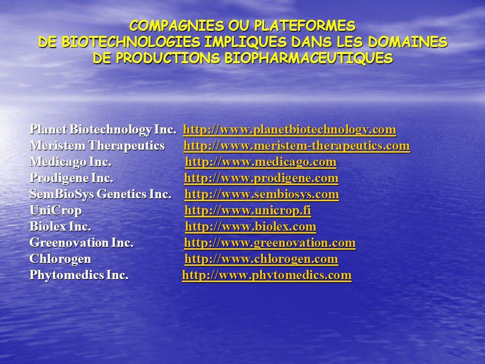 COMPAGNIES OU PLATEFORMES DE BIOTECHNOLOGIES IMPLIQUES DANS LES DOMAINES DE PRODUCTIONS BIOPHARMACEUTIQUES