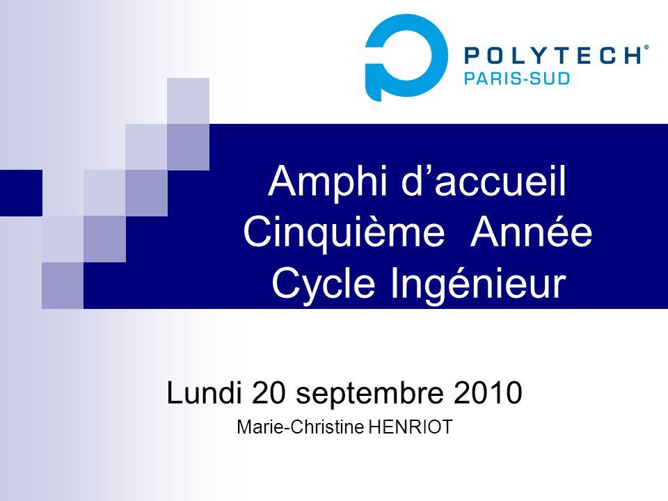 Amphi d'accueil Cinquième Année Cycle Ingénieur