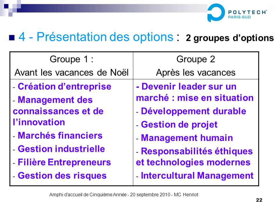 4 - Présentation des options : 2 groupes d'options