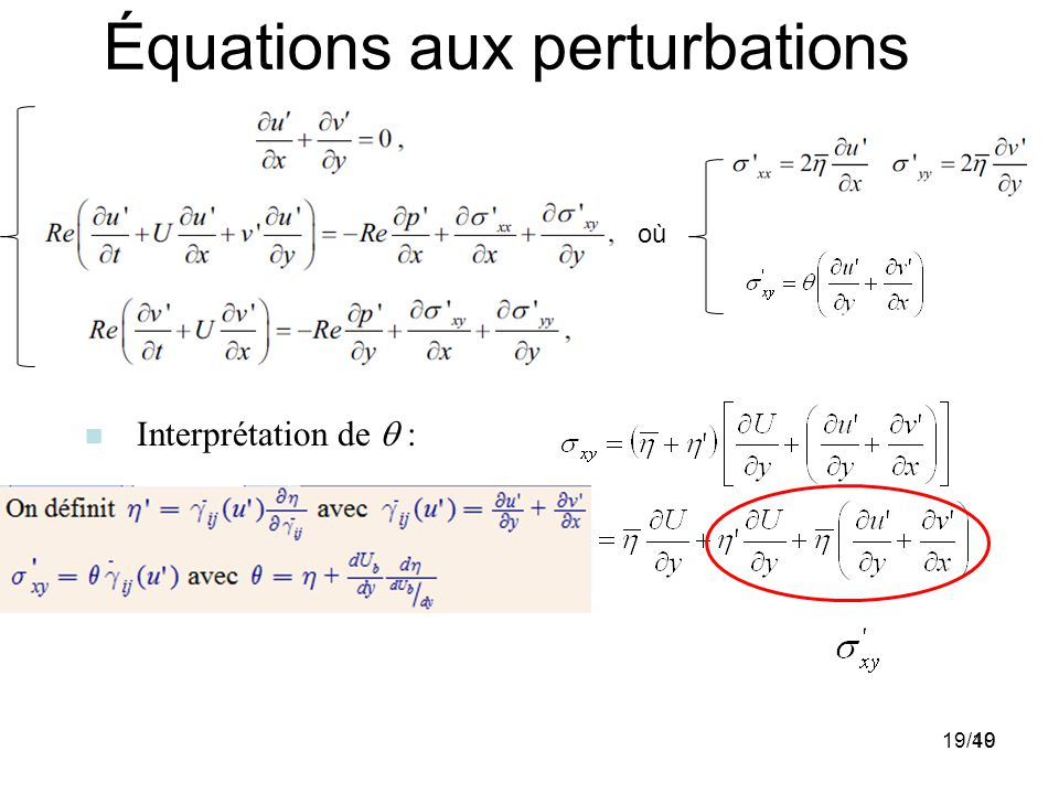 Équations aux perturbations :