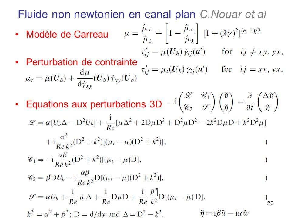 Fluide non newtonien en canal plan C.Nouar et al