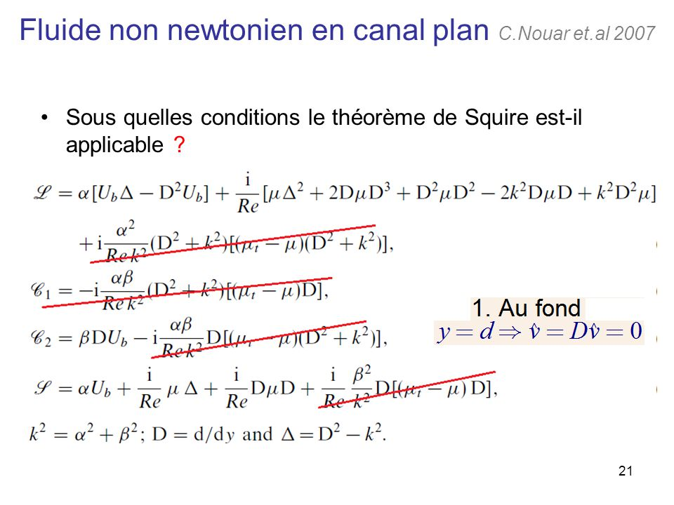 Fluide non newtonien en canal plan C.Nouar et.al 2007