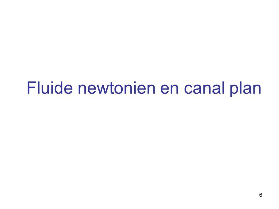 Fluide newtonien en canal plan