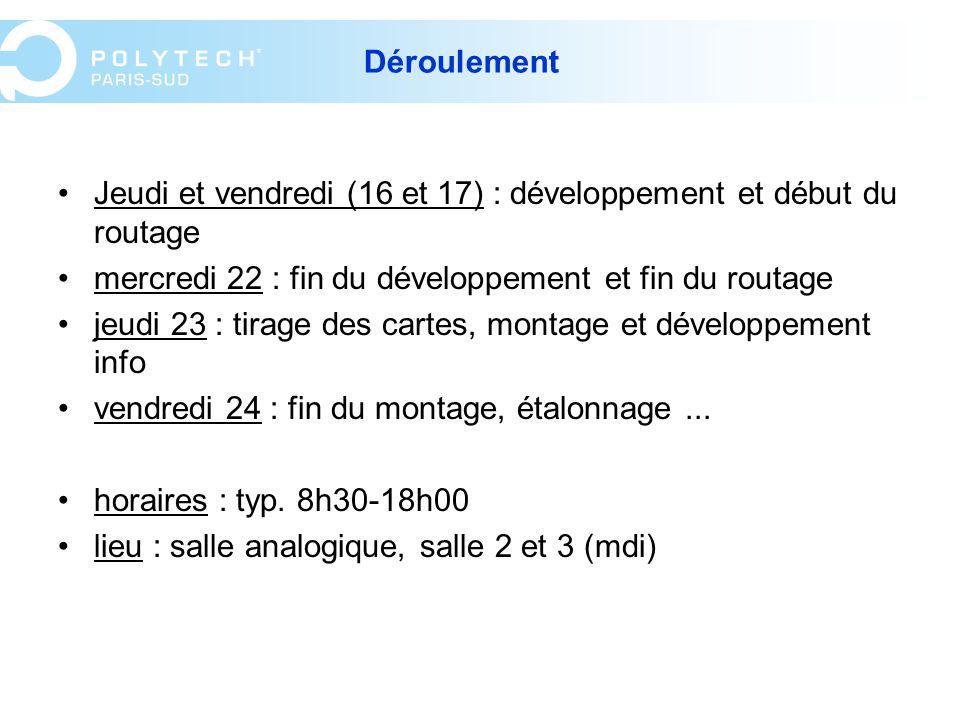 Déroulement Jeudi et vendredi (16 et 17) : développement et début du routage. mercredi 22 : fin du développement et fin du routage.