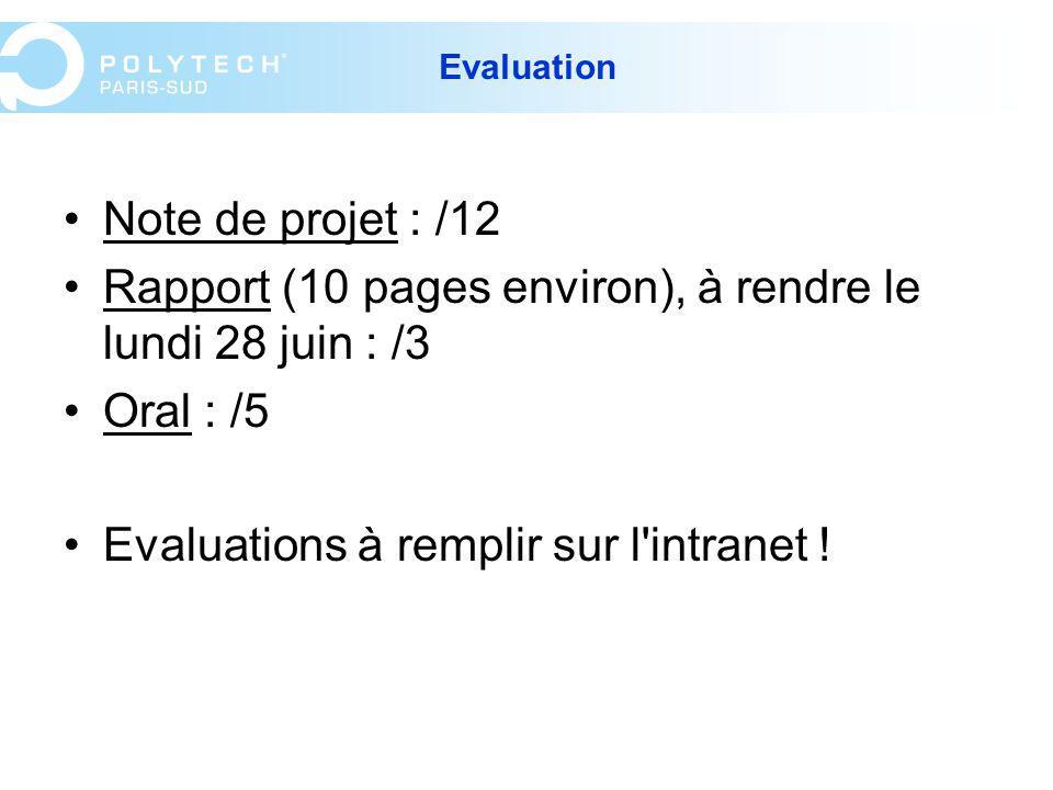 Rapport (10 pages environ), à rendre le lundi 28 juin : /3 Oral : /5