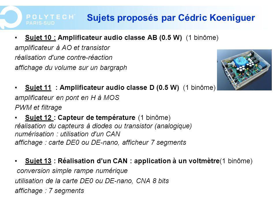 Sujets proposés par Cédric Koeniguer