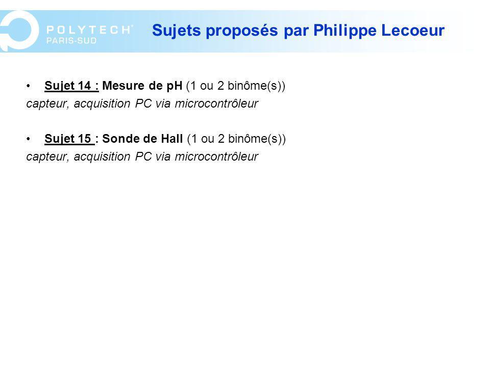 Sujets proposés par Philippe Lecoeur