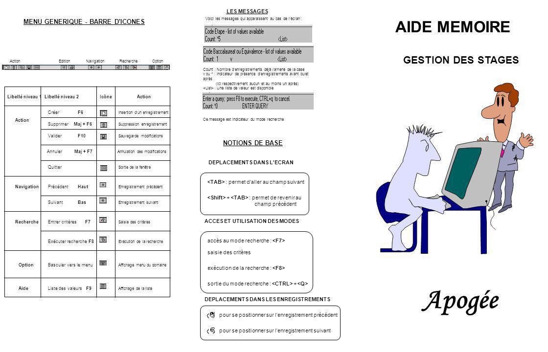 Apogée AIDE MEMOIRE GESTION DES STAGES MENU GENERIQUE - BARRE D ICONES