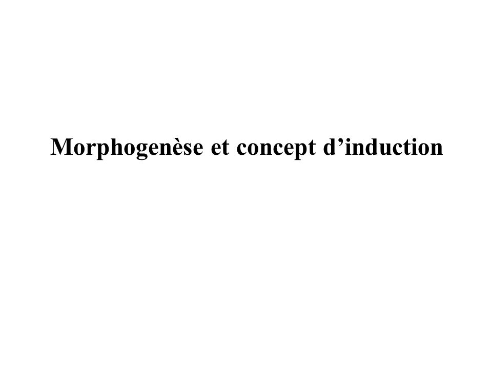 Morphogenèse et concept d'induction