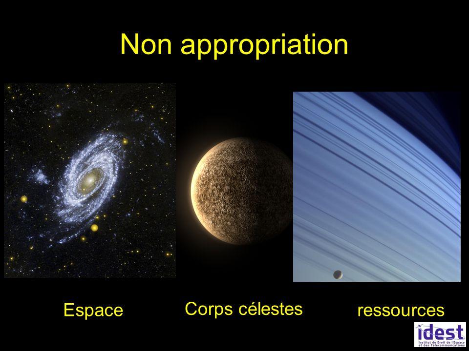 Non appropriation Espace Corps célestes ressources