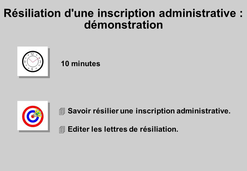 Résiliation d une inscription administrative : démonstration