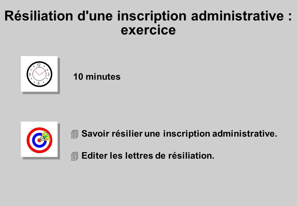 Résiliation d une inscription administrative : exercice