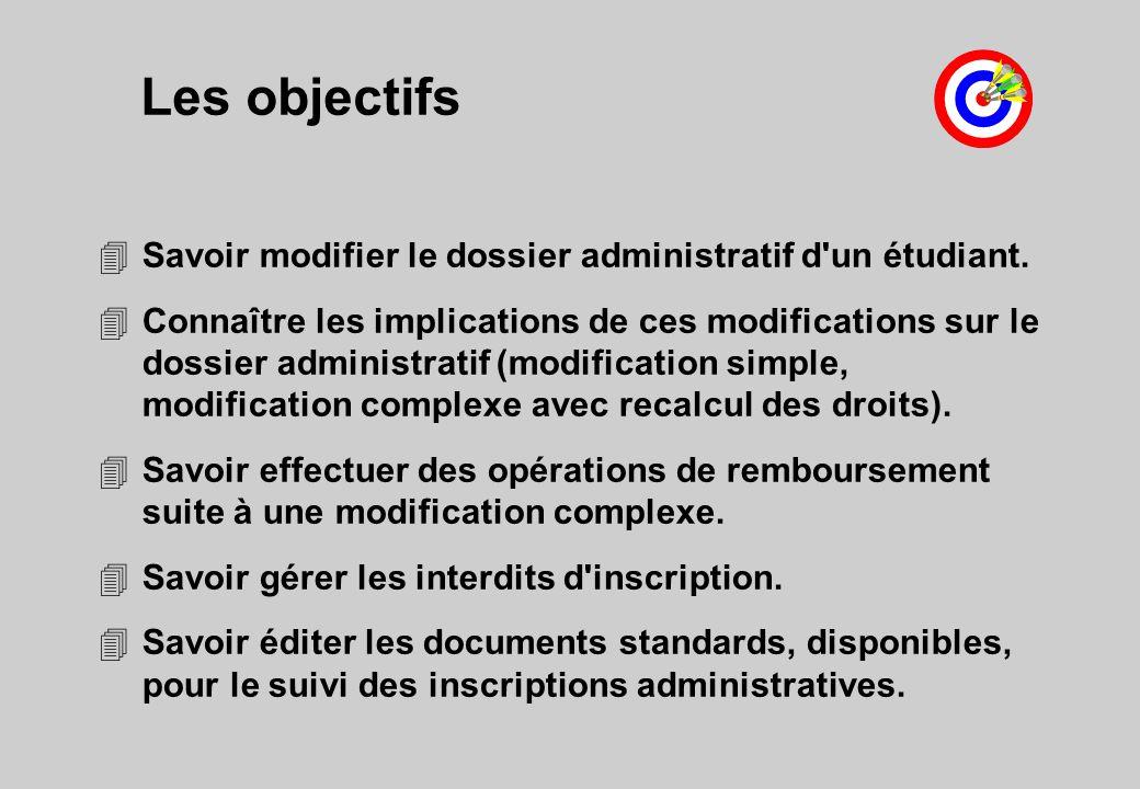 Les objectifs Savoir modifier le dossier administratif d un étudiant.
