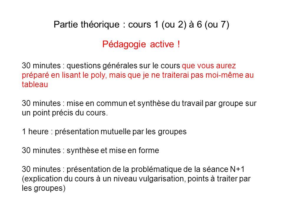 Partie théorique : cours 1 (ou 2) à 6 (ou 7)