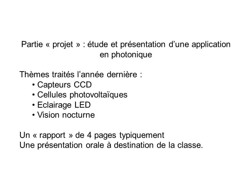 Partie « projet » : étude et présentation d'une application en photonique