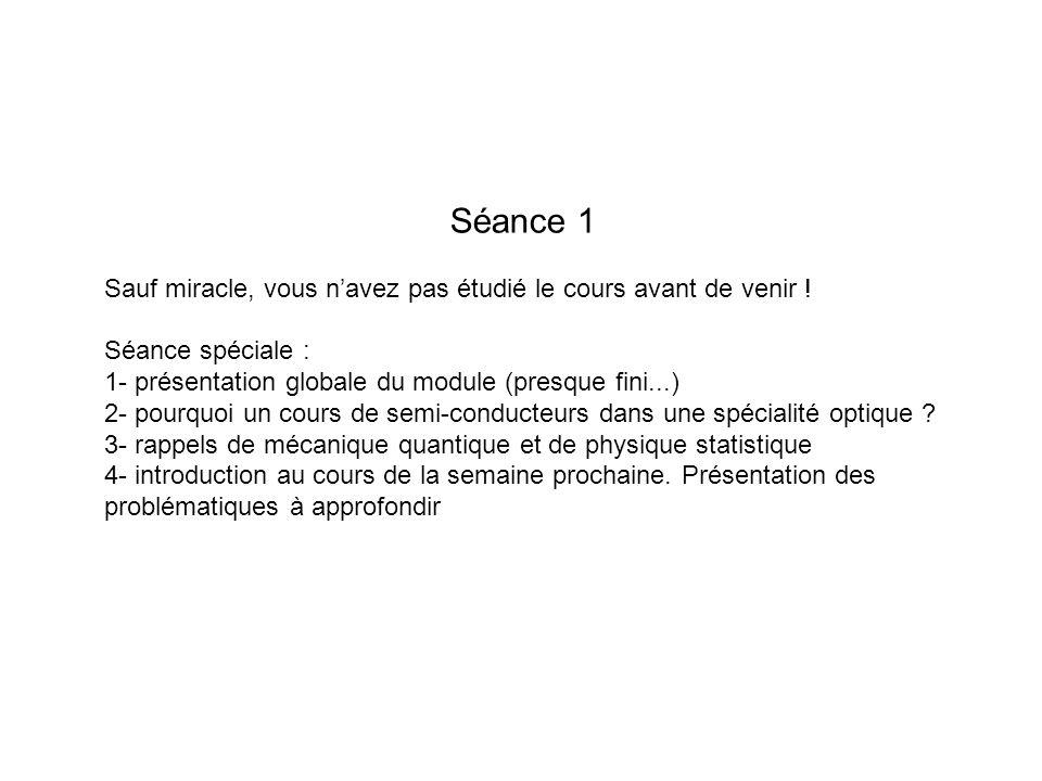 Séance 1 Sauf miracle, vous n'avez pas étudié le cours avant de venir ! Séance spéciale : 1- présentation globale du module (presque fini...)