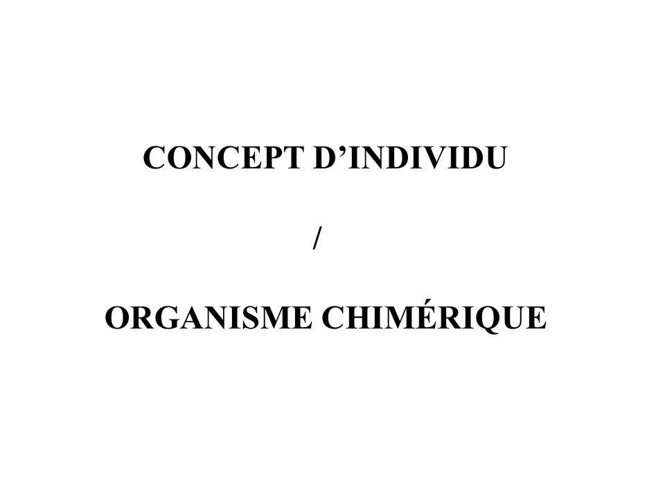 CONCEPT D'INDIVIDU / ORGANISME CHIMÉRIQUE