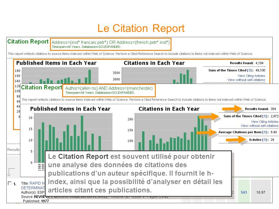 Le Citation Report Le Citation Report permet l'obtention rapide d'indicateurs concernant les citations des publications d'une institution par exemple.