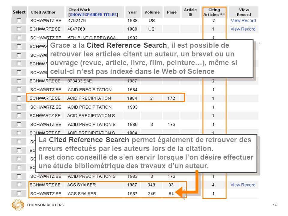 Grace a la Cited Reference Search, il est possible de retrouver les articles citant un auteur, un brevet ou un ouvrage (revue, article, livre, film, peinture…), même si celui-ci n'est pas indexé dans le Web of Science