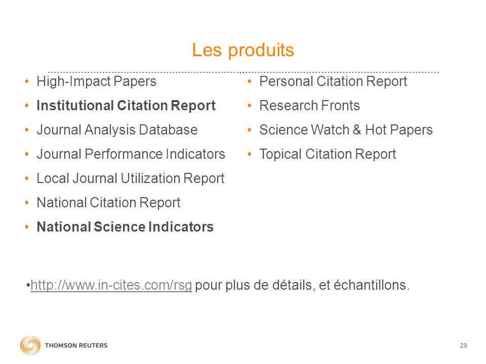 Les produits High-Impact Papers Institutional Citation Report