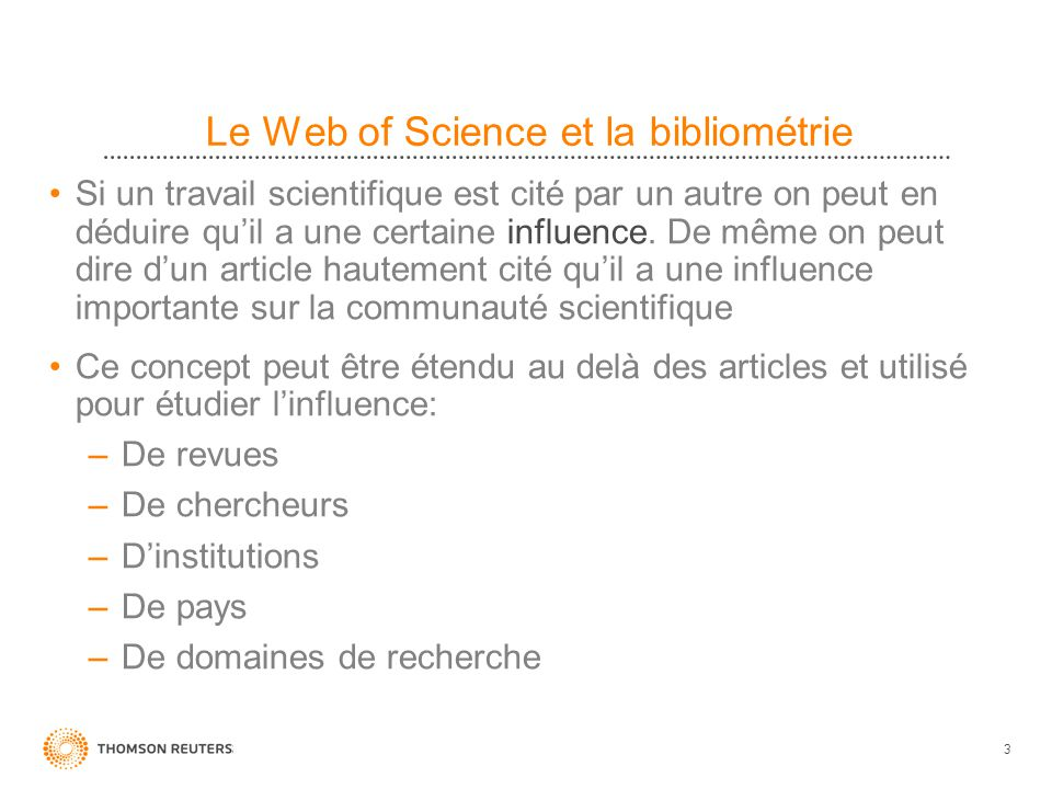 Le Web of Science et la bibliométrie