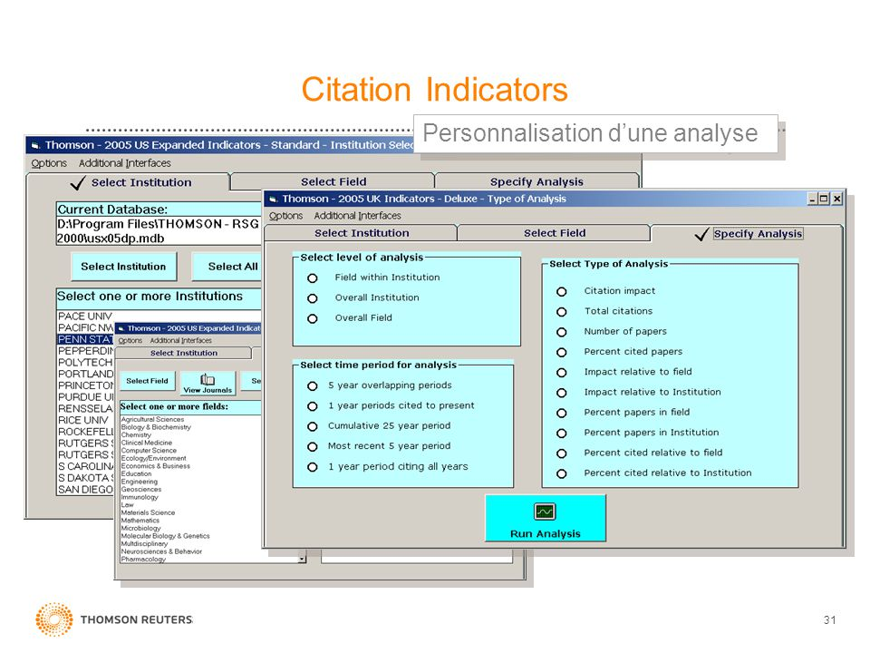 Citation Indicators Personnalisation d'une analyse