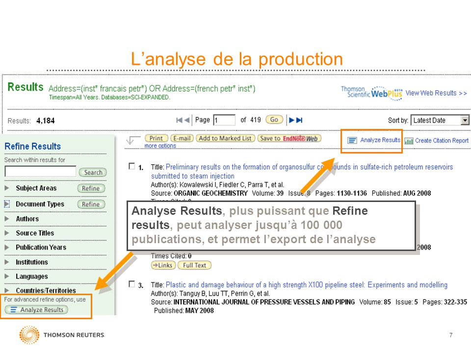 L'analyse de la production