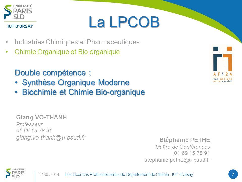 La LPCOB Double compétence : Synthèse Organique Moderne