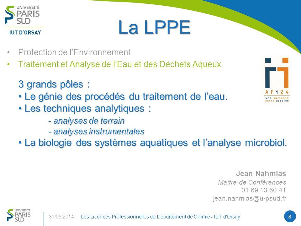La LPPE 3 grands pôles : Le génie des procédés du traitement de l'eau.