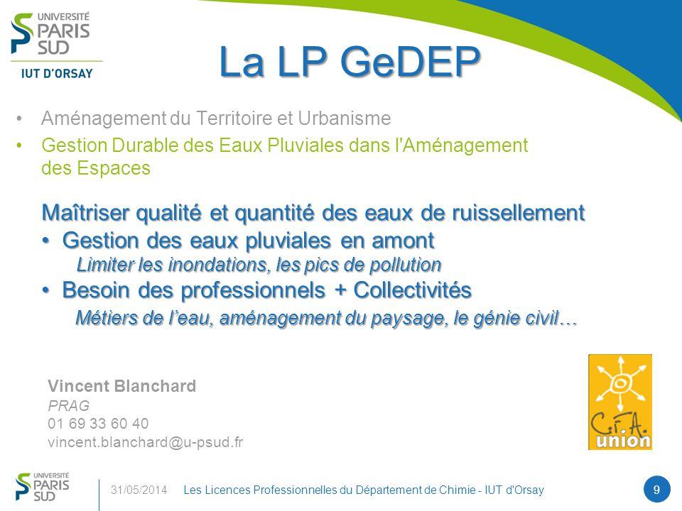 La LP GeDEP Maîtriser qualité et quantité des eaux de ruissellement