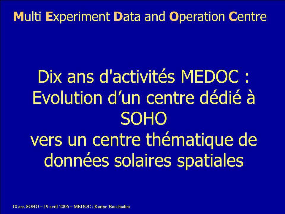 Dix ans d activités MEDOC : Evolution d'un centre dédié à SOHO