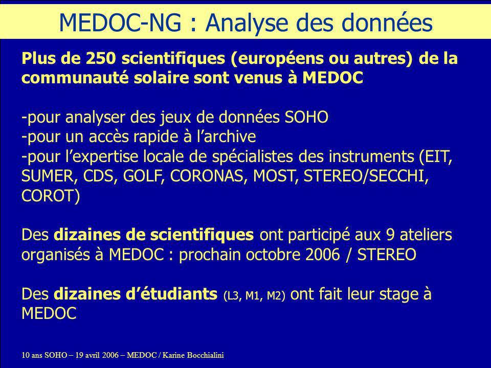 MEDOC-NG : Analyse des données