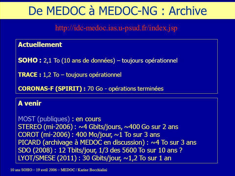 De MEDOC à MEDOC-NG : Archive