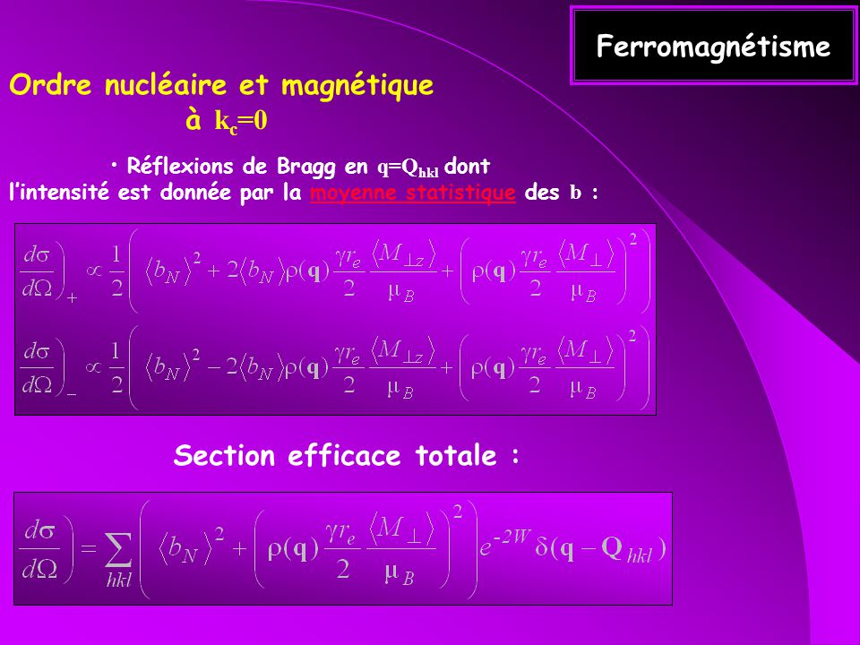 Ordre nucléaire et magnétique à kc=0