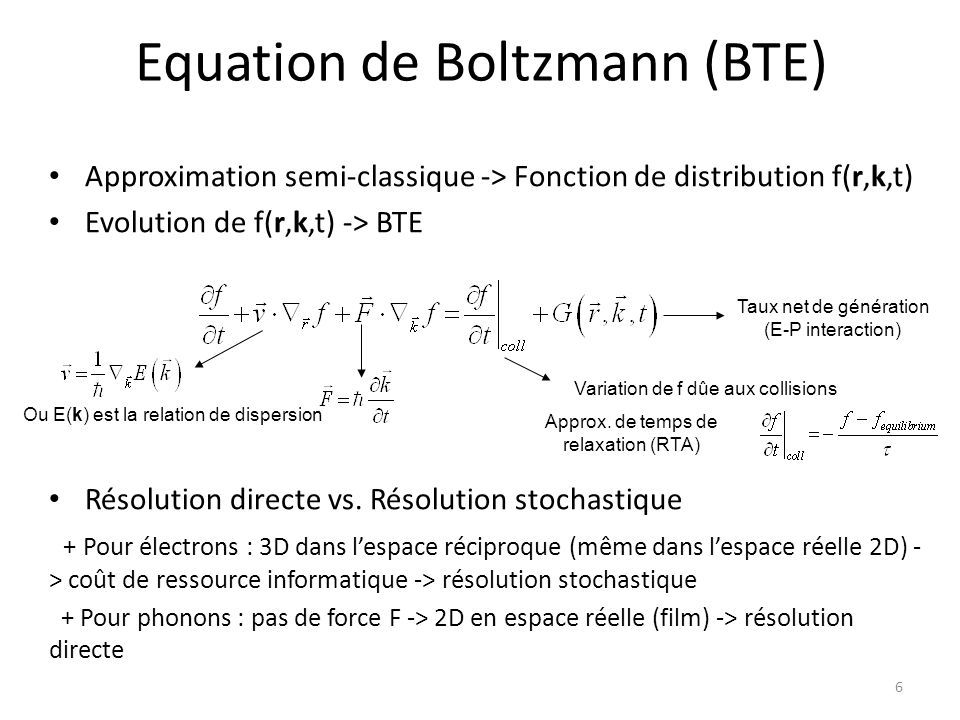 Equation de Boltzmann (BTE)