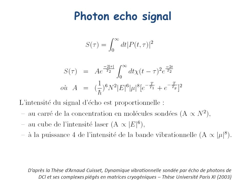 Photon echo signal