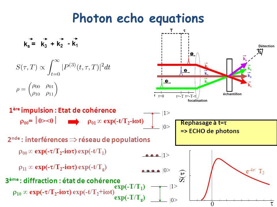 Photon echo equations 1ère impulsion : Etat de cohérence