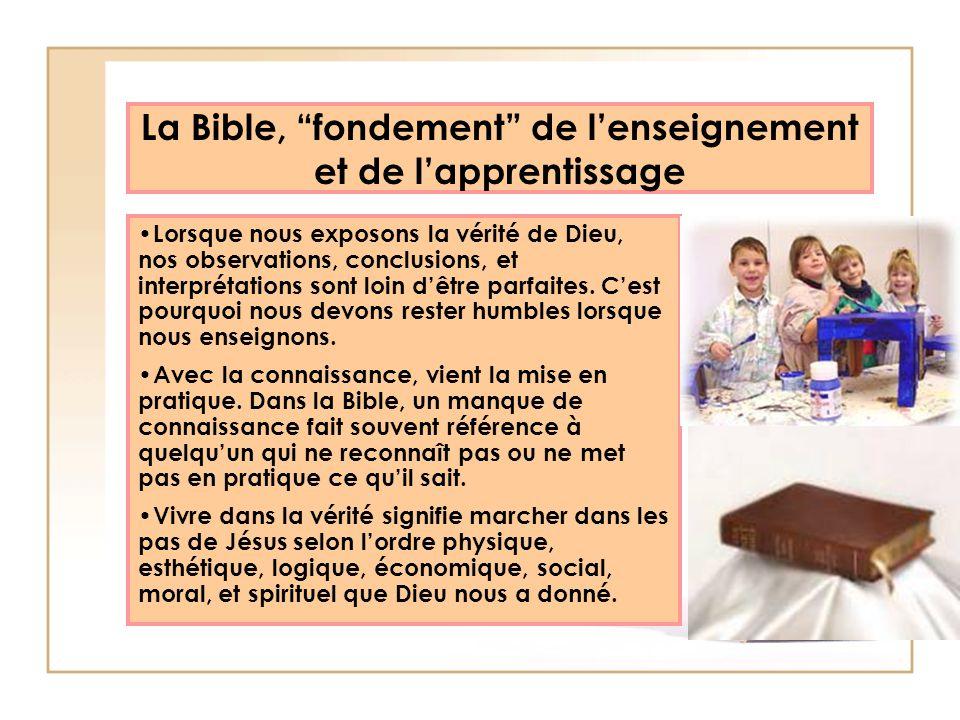 La Bible, fondement de l'enseignement et de l'apprentissage