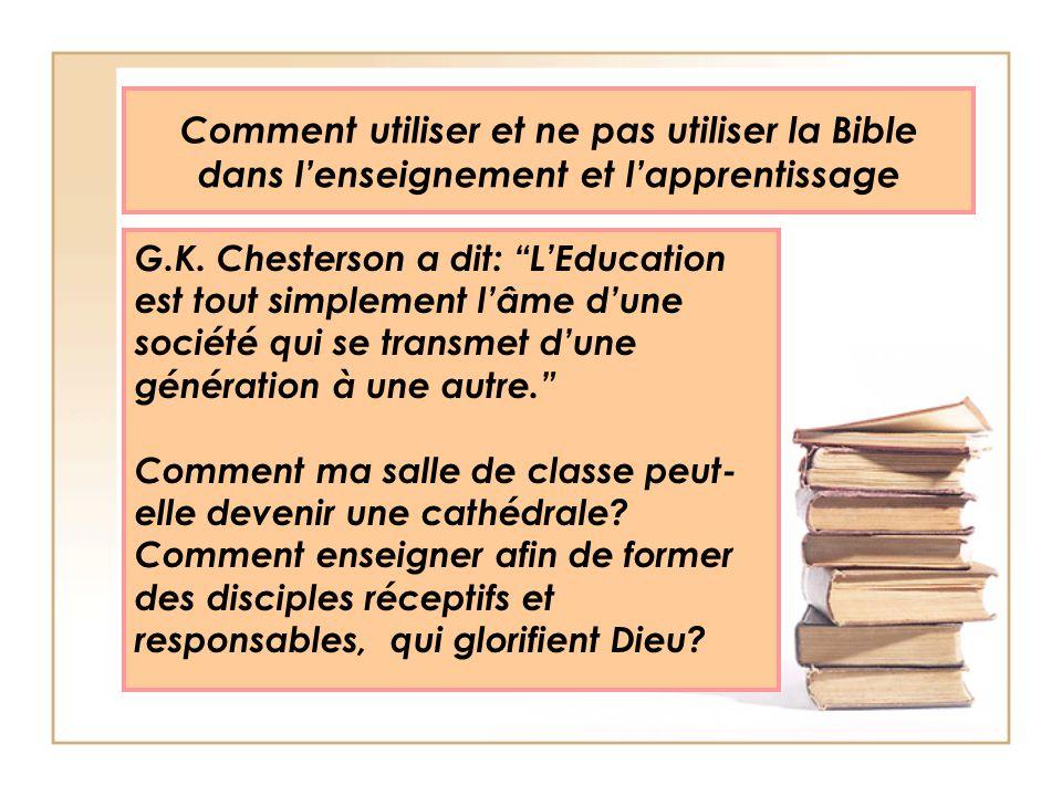 Comment utiliser et ne pas utiliser la Bible dans l'enseignement et l'apprentissage