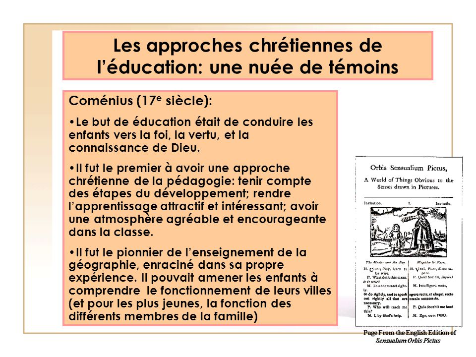 Les approches chrétiennes de l'éducation: une nuée de témoins
