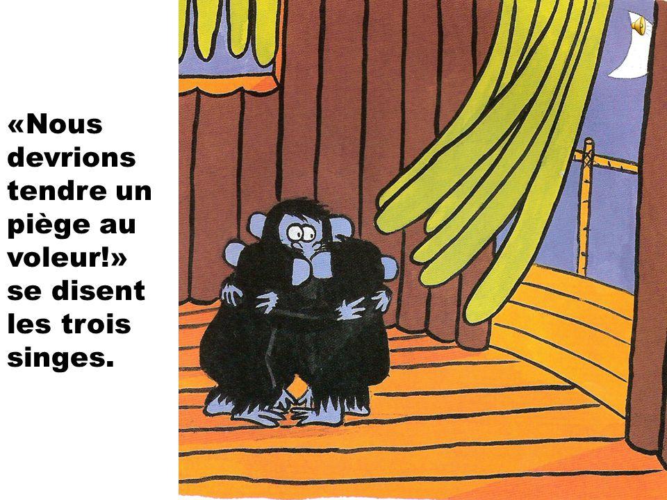«Nous devrions tendre un piège au voleur!» se disent les trois singes.